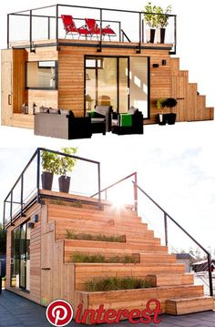 10 Modern Prefabs We'd Love to Call Home - Design Milk Belatchew Arkitekter designed a tiny, unique prefab house, called Steps, for JABO. The house features a rooftop terrace that's reached via a stai Modern Tiny House, Tiny House Living, Tiny House Design, Living Room, Cabin Design, Small Home Design, Modern Shed, Modern Garage, Unique House Design