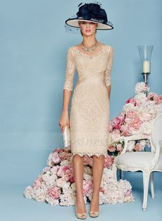Sheath/Column V-neck Knee-Length Beading Lace Zipper Up Sleeves 1/2 Sleeves Yes Champagne Spring Summer General Mother of the Bride Dress