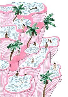 Illustrations about travels, interiors and personnal moods by Norway based artist Isabelle Feliu Art And Illustration, L Wallpaper, Posca Art, Tatoo Art, Pamukkale, Art Inspo, Illustrators, Design Art, Cool Art
