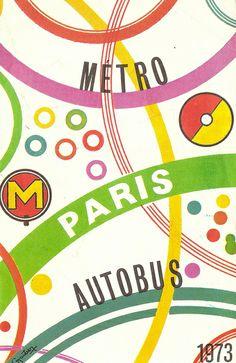 RATP - Paris bus and metro map, 1973 - plan Paris autobus et metro by mikeyashworth, via Flickr