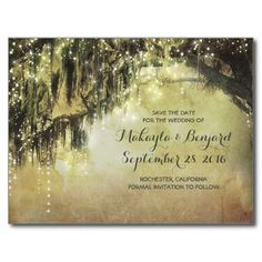 string of lights & old tree save the date postcard