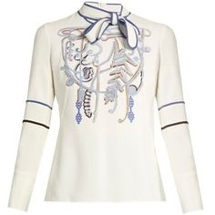 Peter Pilotto Neck-tie embroidered cady top