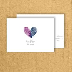 Thumbprint save the date cards in navy and purple! I might do this in navy/red for our seating cards