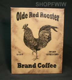 """Jovi Studio Vintage 11"""" x  14"""" Olde Red Rooster Coffee Canvas Advertising Sign"""