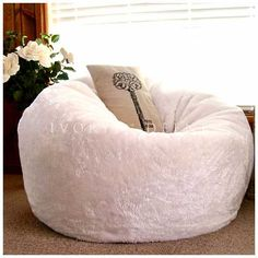 Posh Faux Fur Bean Bag Chair - Cream-You have now found luxury at its  finest! Nothing can beat this beautiful and super comfy fur next to your  skin! 4b01b1dd5d220