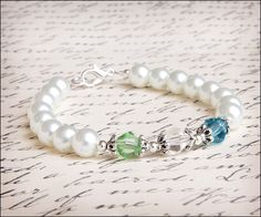 Mother's Mom Birthstone White Glass Pearl by lajoliefilleboutique, $10.00