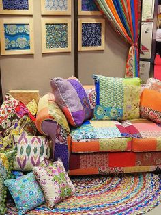 LOVE This Bright Colored Boho Patchwork Sofa