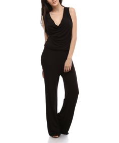 Look at this Urban X Black V-Neck Jumpsuit on #zulily today!