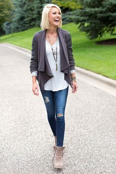 Private Practice Drape Front Jacket Blank, Rodeo Stripe LS Tunic Tee Peyton Jensen, Legging Ankle Ag, Charming Double Strand Tassel Necklace Harriet Isles,