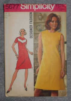 "Vintage Simplicity Dress / Frock Fabric Material Sewing  Pattern Sz16 38""b #5677"