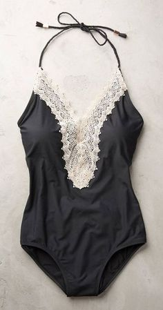 Lace-Front Maillot Bathing Suit