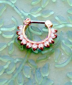 16g Iridescent Diamond Clear Rose Gold Septum Clicker #3 Rose Gold