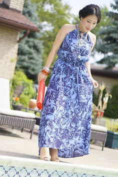 blue floral maxi dress-nude heels-red bag