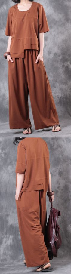 summer brown asymmetric cotton tops casual wide leg pants