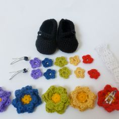 crochet Flower Power Mary Jane Gift Set by TenTinyPiggies on Etsy, $20.00