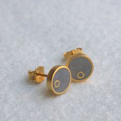 I am in love with the concrete and silver jewelry by iDesign. Step Earrings Gold Plate now featured on Fab.