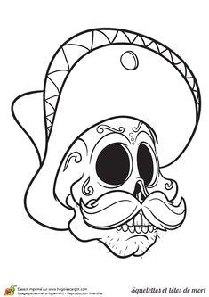 Tête de mort avec un sombrero à colorier