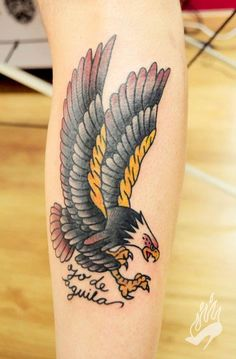old school tattoo / traditional ink - eagle (by Diana Torres) - Eagle Tattoos, Feather Tattoos, Foot Tattoos, Forearm Tattoos, Traditional Eagle Tattoo, Traditional Tattoo Old School, Traditional Ink, Trendy Tattoos, New Tattoos