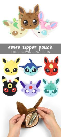 Free Totoro & Pokemon Plush Patterns I had been getting a lot of requests for a pattern that's similar to the animal-faced zipper pouches that are quite trendy right now. And when it occurred to me that I hadn't done any Pokemon proje… Pokemon Gifts, Pokemon Craft, Pokemon Plush, Pikachu, Pokemon Party, Easy Sewing Projects, Sewing Projects For Beginners, Sewing Tutorials, Sewing Crafts