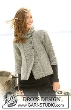 """Silver Haze - DROPS jacket in """"Eskimo"""" or """"Nepal"""" or """"Andes"""" with A-shape and ¾-long or long sleeves. Size S to XXXL - Free pattern by DROPS Design"""