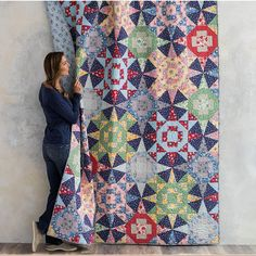 Honey Cooler Quilt by Craftsy. 1930's revival fabrics make up this fun scrappy quilt. Kaleidoscope quilt. affiliate link.