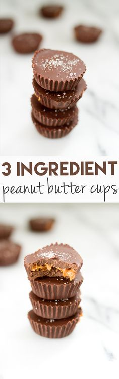 Homemade peanut butter cups made with only three simple ingredients