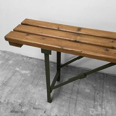 Industrial Folding Bench Seat Wood Metal Dining Table Hall