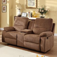 Have to have it. Aiden Chenille Reclining Loveseat with Console - Brown $699.99