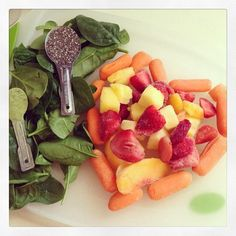 Green smoothie: frozen strawberries, pineapple, mango & peaches, spinach, chia seeds, matcha green tea, and water -Drea