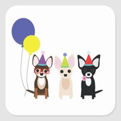 Shop birthday-chihuahuas-stelieandco square sticker created by stelieandco.