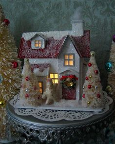 Vintage Style Putz Glitter Christmas House Snowman Bottle Brush Trees Lighted