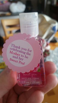 Baby Girl Baby shower favor!  Bath & Body Works Sweet Pea hand sanitizer.