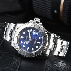 59bf0fc01 2018 Hot Top Parnis Blue Brown Black Dial Sapphire Glass Date window 21  jewels Miyota 8215 Automatic Movement men's Watch