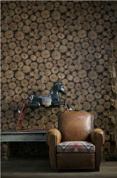 Love this Lumberjack Timber look wallpaper by Andrew Martin Log Wallpaper, Eclectic Wallpaper, Feature Wallpaper, Contemporary Wallpaper, Wallpaper Online, Wallpaper Awesome, Transitional Wallpaper, Crazy Wallpaper, Interior Wallpaper