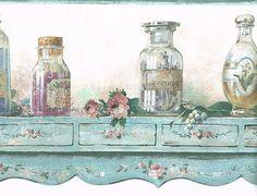 Vintage+Bottles+on+Delicate+Shelf+Wallpaper+Border