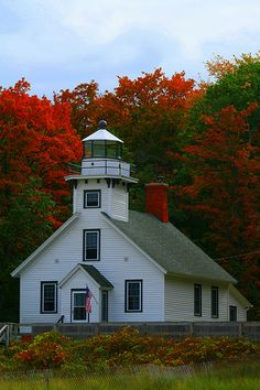Mission Point Lighthouse, located in the Peninsula Township Park near Traverse City, Michigan.