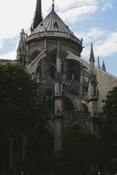 Cathedral of Notre-Dame, Paris, view of the choir with flying buttresses