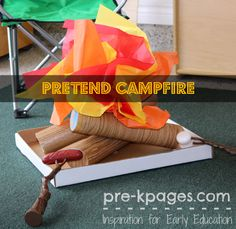 Pretend Campfire Tutorial for Dramatic Play Center Camping Theme in Preschool and Kindergarten Dramatic Play Area, Camping Dramatic Play, Dramatic Play Centers, Dramatic Arts, Preschool Centers, Preschool Themes, Preschool Classroom, Classroom Themes, Kindergarten