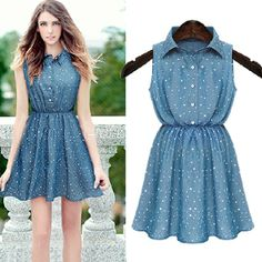 Fashion Turndown Collar Tank Sleeveless Waist Blue Cotton Mini Dress