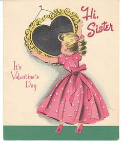 Vintage Valentine Card Girl and Shiny Mirror Sassy Norcross 1950 Sister | eBay
