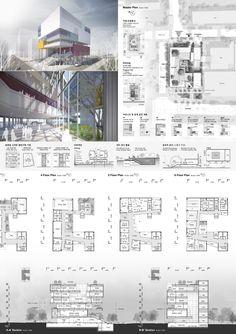 시립청소년음악창작센터 국제설계공모_WebDRM[yId] Library Architecture, Colour Architecture, Architecture Panel, Architecture Visualization, Architecture Portfolio, Concept Architecture, Sustainable Architecture, Architecture Presentation Board, Landscape Design Plans