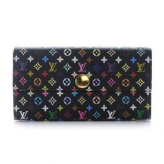 This is an authentic LOUIS VUITTON Multicolor Sarah Wallet in Black.   This stylish clutch wallet is finely crafted of Multicolore Louis Vuitton monogram in 33 vivid colors on toile canvas.