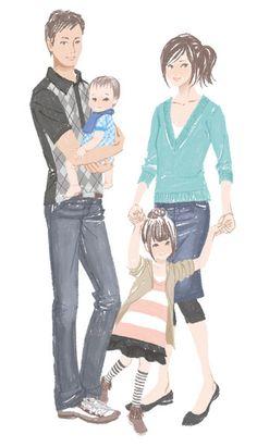 【広告】住宅リフォーム|ミヤモトヨシコのガールズイラスト Family Sketch, Family Drawing, Family Painting, Family Illustration, Portrait Illustration, Girl Cartoon, Cute Cartoon, Family Clipart, Chemistry Art