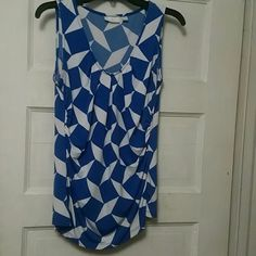 Dress top Blue and white dress tank top. New York & Company Tops Tank Tops