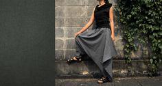 NO.26 Grey Cotton Asymmetric Harem Pants. $40.00, via Etsy.