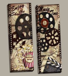 Classic Old-Fashioned Cinema Enjoy the Show and Movie Time' Studios 2 Piece Graphic Art Print Set , Home Cinema Room, At Home Movie Theater, Theatre, Movie Decor, Movie Themes, Movie Themed Rooms, Theater Room Decor, About Time Movie, Room Themes