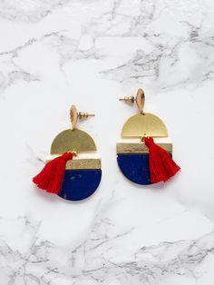 Lapis & Red Fringe Statement Earrings