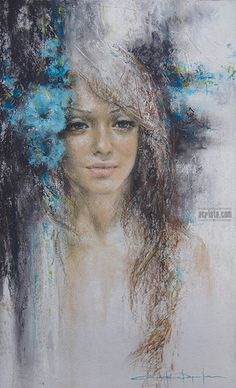 Like a Poem, soft pastel, commission #art #woman #flowers