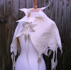 Elven Ice Capelet Snow Queen of the Fae Pixie Felted Fairytale Cape