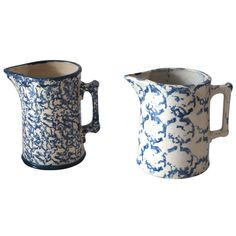 Two Amazing 19th Century Design Sponge Ware Pitchers | From a unique collection of antique and modern ceramics at http://www.1stdibs.com/furniture/folk-art/ceramics/